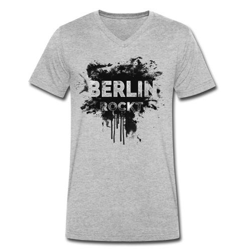 BERLIN ROCKT SPLÄTTER DESIGN - Männer Bio-T-Shirt mit V-Ausschnitt von Stanley & Stella