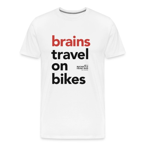 brains travel on bikes, Herren Premium T-Shirt, Typo schwarz - Männer Premium T-Shirt