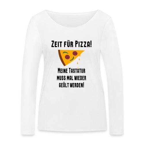 Pizza Essen Tastatur Spruch Langarmshirt - Frauen Bio-Langarmshirt von Stanley & Stella