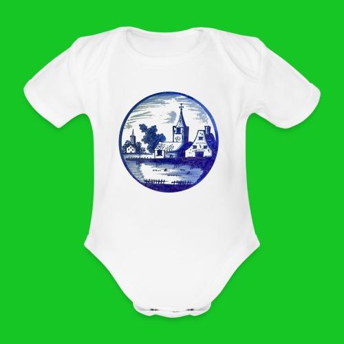 Delfts Blauw kerk rompertje - Baby bio-rompertje met korte mouwen