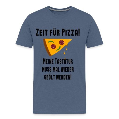 Pizza Essen Tastatur Spruch T-Shirt - Männer Premium T-Shirt