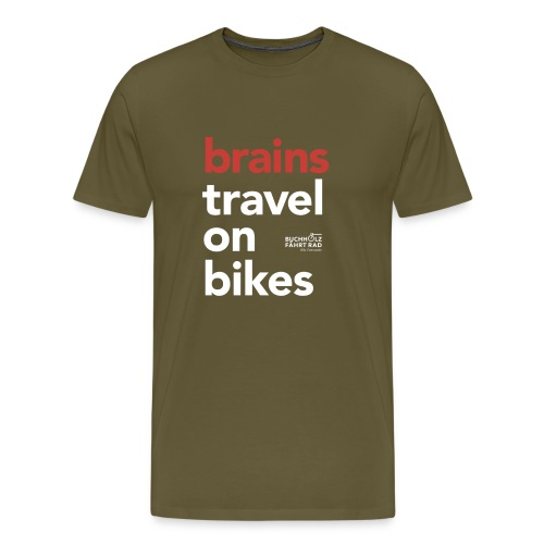 brains travel on bikes, Herren Premium T-Shirt, Typo weiß - Männer Premium T-Shirt