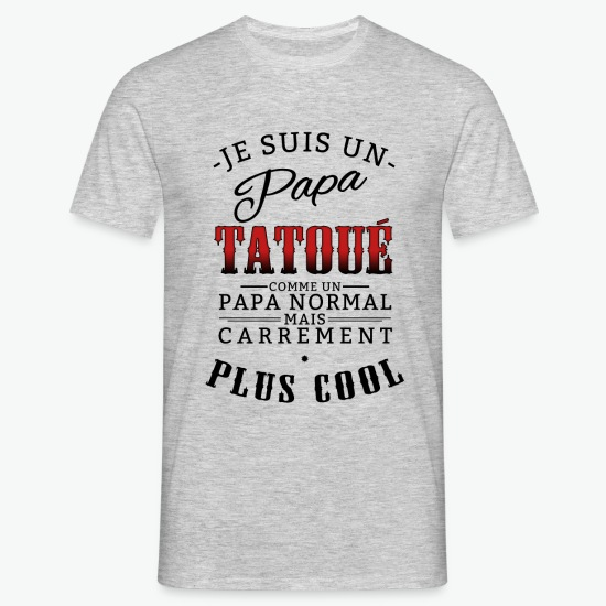 T-shirt papa tattoo gris chiné par Tshirt Family