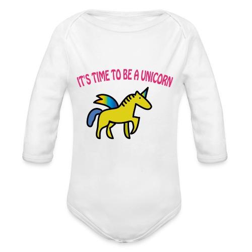 Baby Bio-Langarm-Body: Einhorn - Unicorn - Baby Bio-Langarm-Body