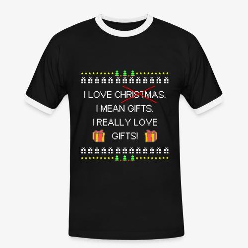Männer Kontrast T-Shirt I love gifts ugly christmas - Männer Kontrast-T-Shirt
