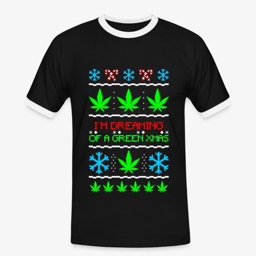 Männer Kontrast T-Shirt Green Ugly Christmas Weed - Männer Kontrast-T-Shirt