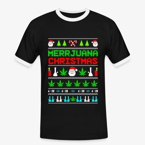 Männer Kontrast T-Shirt MERRYjuana Ugly Xmas - Männer Kontrast-T-Shirt