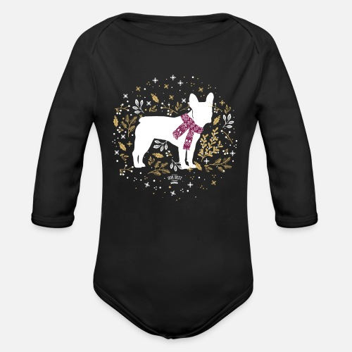 French Bulldog Winter - Baby Bio-Langarm-Body