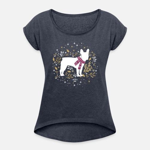 French Bulldog Winter - Frauen T-Shirt mit gerollten Ärmeln