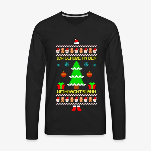 Männer Premium Langarmshirt Ich glaube an Nikolaus Ugly Christmas - Männer Premium Langarmshirt