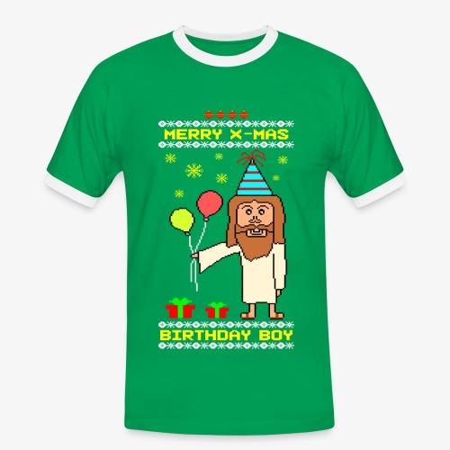 Männer Kontrast T-Shirt Jesus Birthday Boy Ugly Xmas - Männer Kontrast-T-Shirt