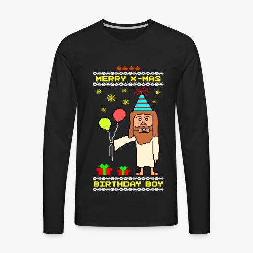 Männer Premium Langarmshirt Jesus Birthday Boy Ugly Xmas - Männer Premium Langarmshirt