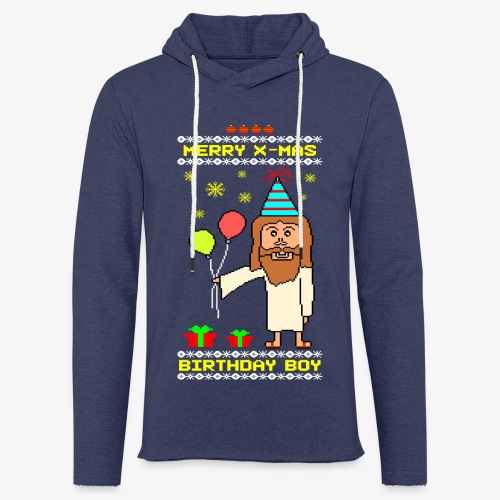 Leichtes Kapuzensweatshirt Unisex Jesus Birthday Boy Ugly Xmas - Leichtes Kapuzensweatshirt Unisex