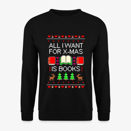 Männer Pullover I want books ugly Christmas - Männer Pullover