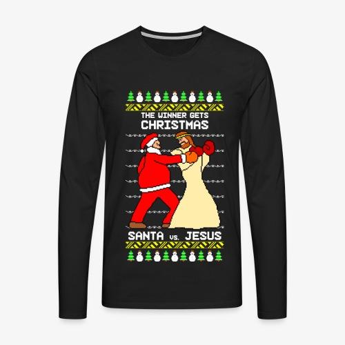 Männer Premium Langarmshirt jesus santa fight ugly Christmas - Männer Premium Langarmshirt