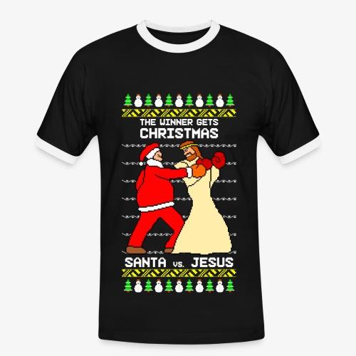 Männer Kontrast T-Shirt jesus santa fight ugly Christmas - Männer Kontrast-T-Shirt
