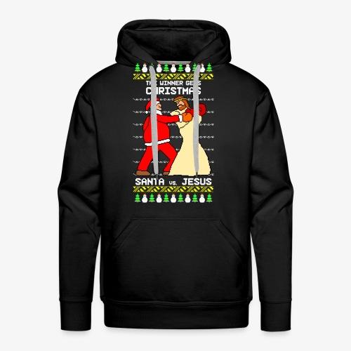 Männer Premium Hoodie jesus santa fight ugly Christmas - Männer Premium Hoodie