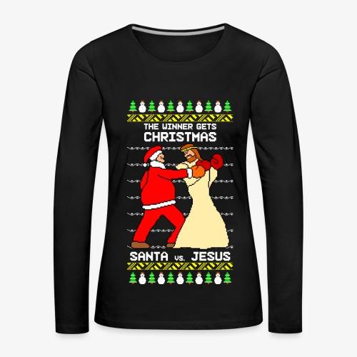 Frauen Premium Langarmshirt jesus santa fight ugly Christmas - Frauen Premium Langarmshirt