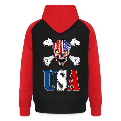 USA Skull - Sweat-shirt baseball unisexe