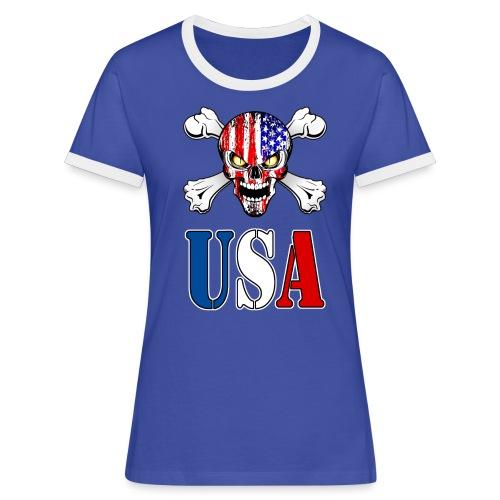 USA Skull - T-shirt contrasté Femme