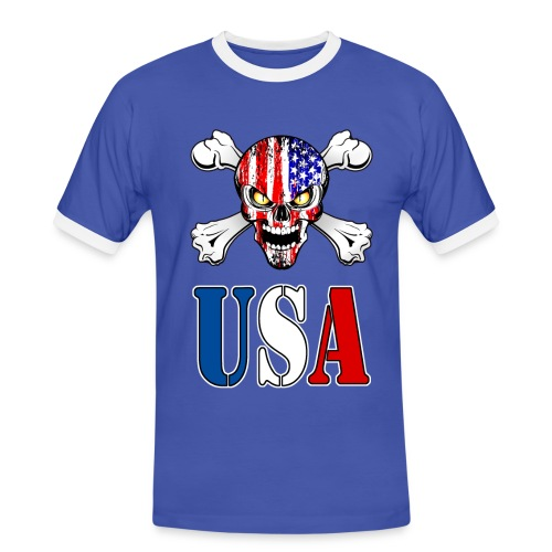USA Skull - T-shirt contrasté Homme