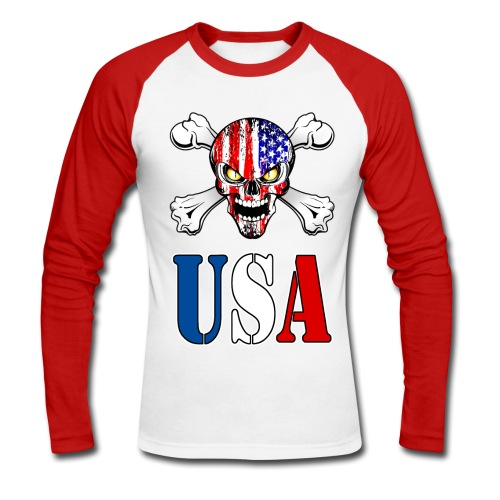 USA Skull - T-shirt baseball manches longues Homme