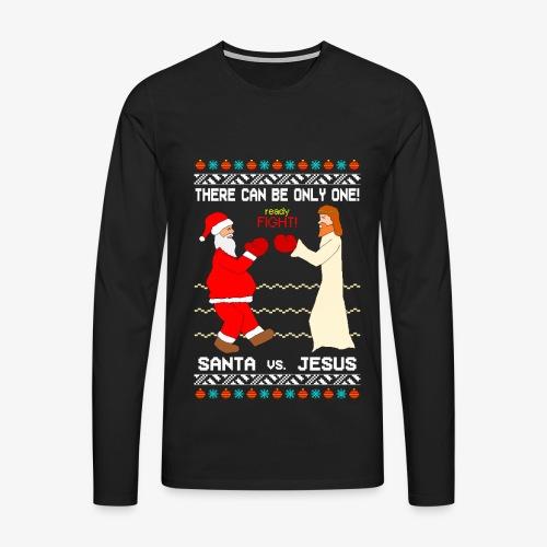 Männer Premium Langarmshirt Santa vs Jesus Ugly Christmas - Männer Premium Langarmshirt