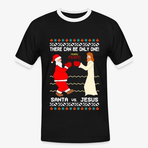 Männer Kontrast T-Shirt Santa vs Jesus Ugly Christmas - Männer Kontrast-T-Shirt