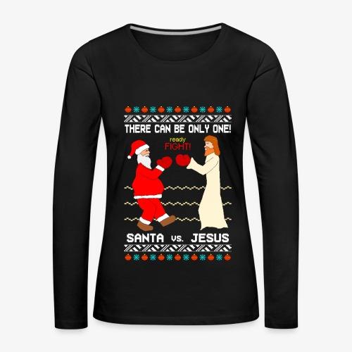 Frauen Premium Langarmshirt Santa vs Jesus Ugly Christmas - Frauen Premium Langarmshirt