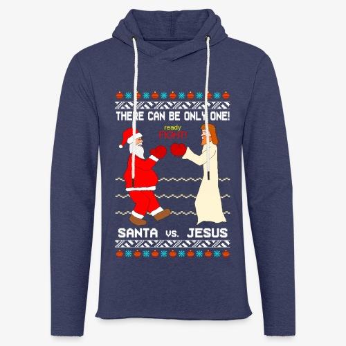 Leichtes Kapuzensweatshirt Unisex Santa vs Jesus Ugly Christmas - Leichtes Kapuzensweatshirt Unisex