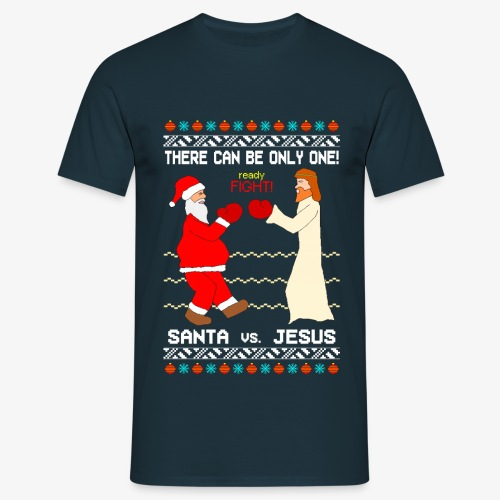 Männer T-Shirt Santa vs Jesus Ugly Christmas - Männer T-Shirt