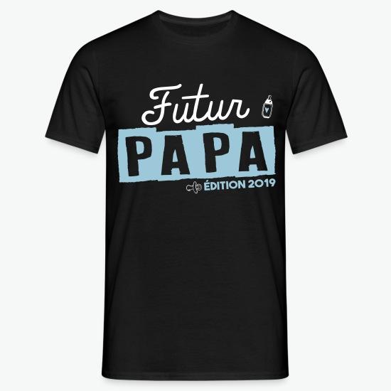 T-shirt Futur papa édition 2019 - grossesse noir par Tshirt Family