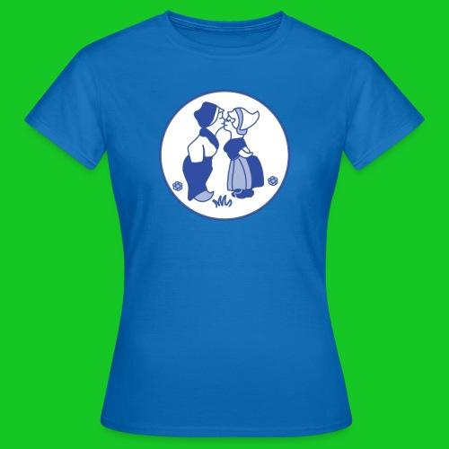 Delfts blauw kussende kinderen dames t-shirt - Vrouwen T-shirt
