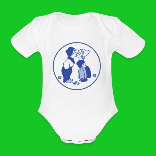 Delfts blauw kussende kinderen rompertje - Baby bio-rompertje met korte mouwen