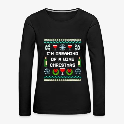 Frauen Premium Langarmshirt Wine Christmas Ugly Sweater - Frauen Premium Langarmshirt