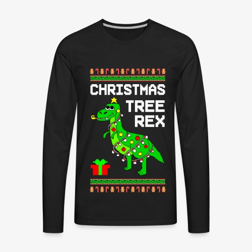 Männer Premium Langarmshirt Tree Rex Ugly Christmas - Männer Premium Langarmshirt