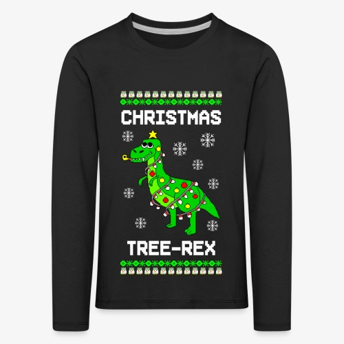 Kinder Premium Langarmshirt Dino Ugly Christmas Weihnachten - Kinder Premium Langarmshirt