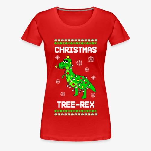 Frauen Premium T-Shirt Dino Ugly Christmas Weihnachten - Frauen Premium T-Shirt