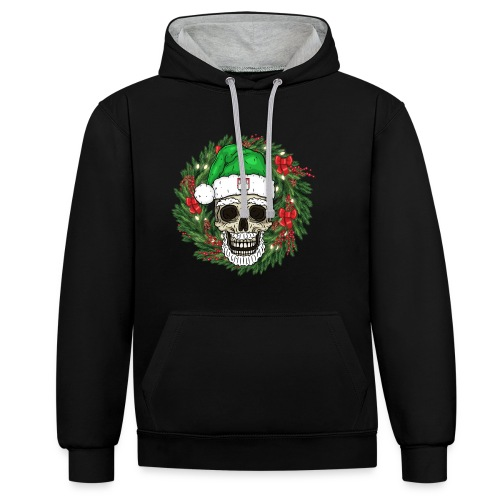 Weihnachtsschädel - Kontrast-Hoodie