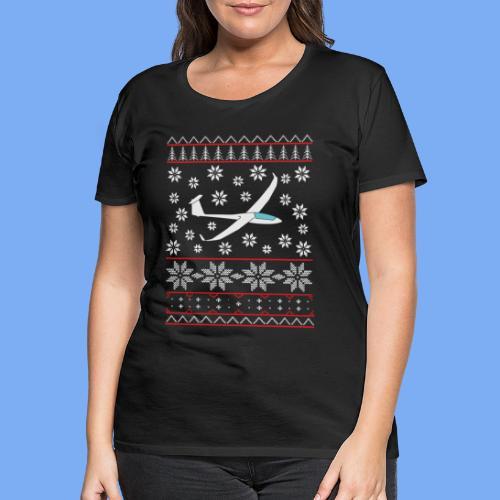 glider pilot ugly christmas Discus 2b - Women's Premium T-Shirt