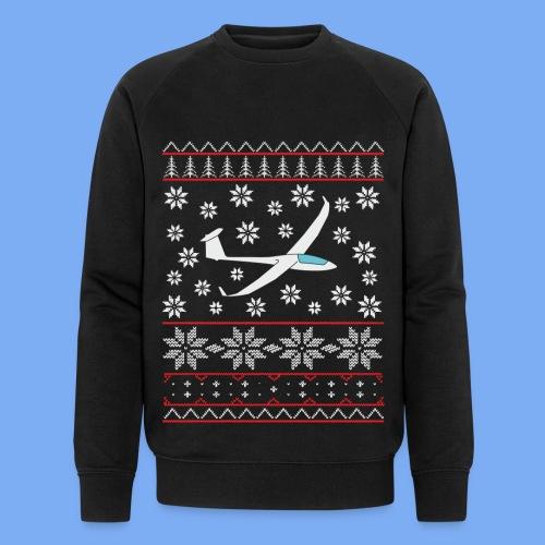glider pilot ugly christmas Discus 2b - Men's Organic Sweatshirt by Stanley & Stella