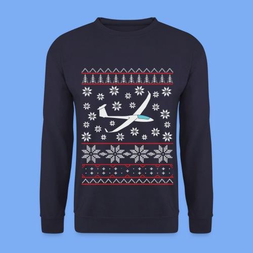 glider pilot ugly christmas Discus 2b - Men's Sweatshirt