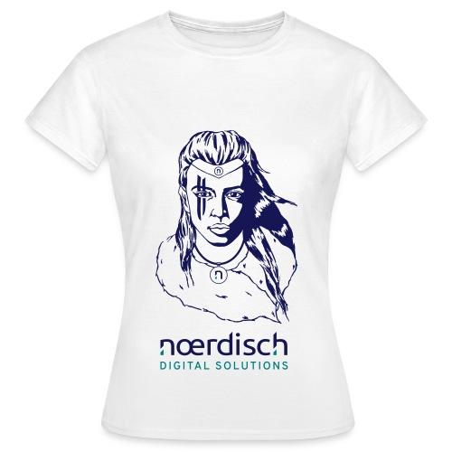 Frauen T-Shirt Noerdisch Viking Realistic Female V1 FRONT Light - Frauen T-Shirt