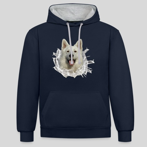 Weißer Schäferhund im *Glas-Loch* - Kontrast-Hoodie
