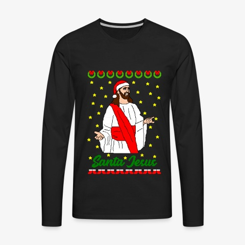 Männer Premium Langarmshirt Santa Jesus Ugly Xmas - Männer Premium Langarmshirt