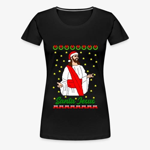 Frauen Premium T-Shirt Santa Jesus Ugly Xmas - Frauen Premium T-Shirt