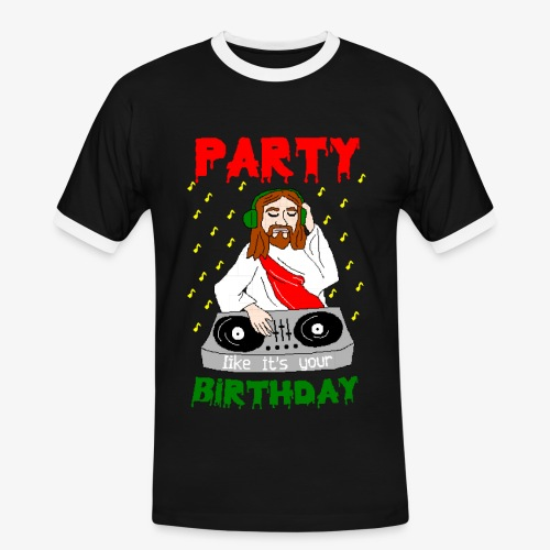 Männer Kontrast T-Shirt dj jesus birthday party ugly christmas - Männer Kontrast-T-Shirt