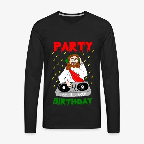 Männer Premium Langarmshirt dj jesus birthday party ugly christmas - Männer Premium Langarmshirt