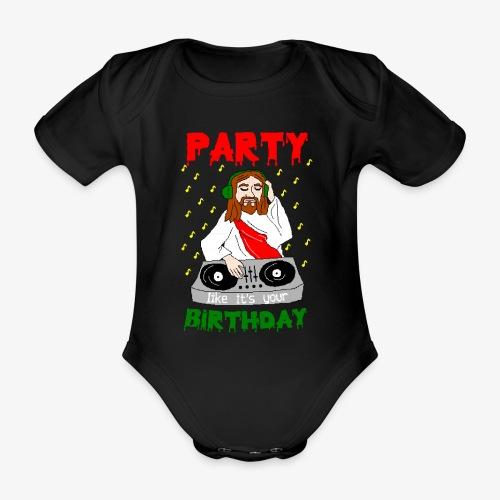 Baby Bio-Kurzarm-Body dj jesus birthday party ugly christmas - Baby Bio-Kurzarm-Body