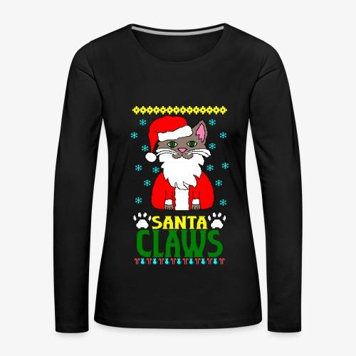 Frauen Premium Langarmshirt santa claws cat Ugly Christmas - Frauen Premium Langarmshirt